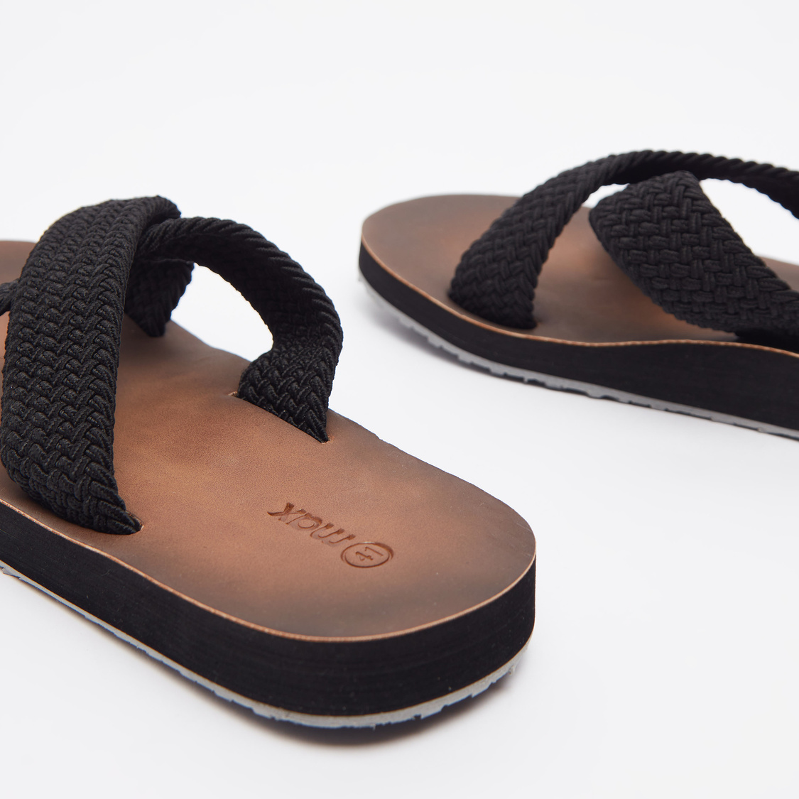 Textured Sandals with Cross Straps
