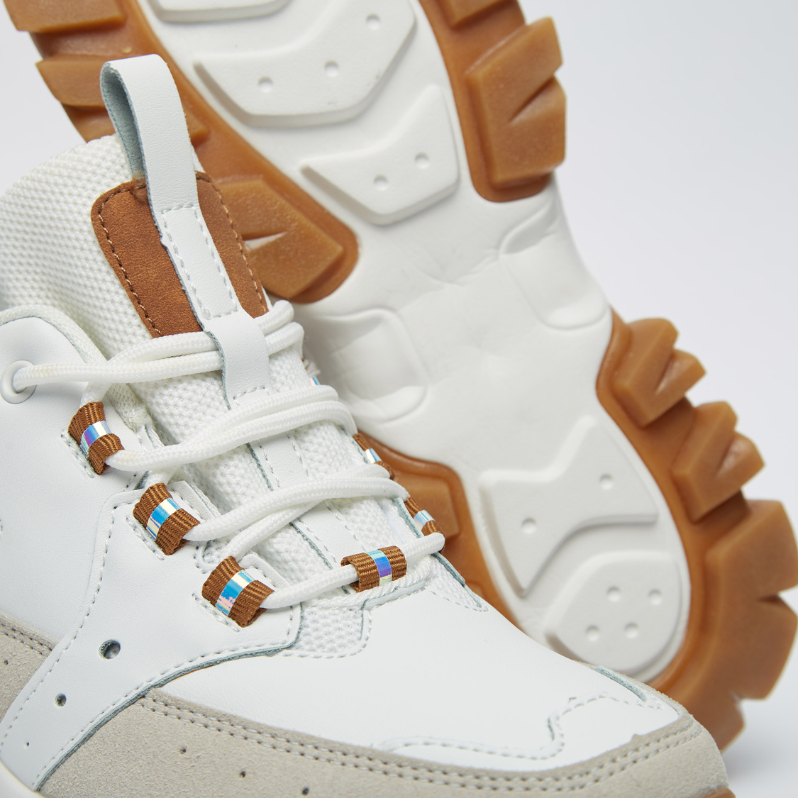 Textured Chunky Lace-Up Sneakers