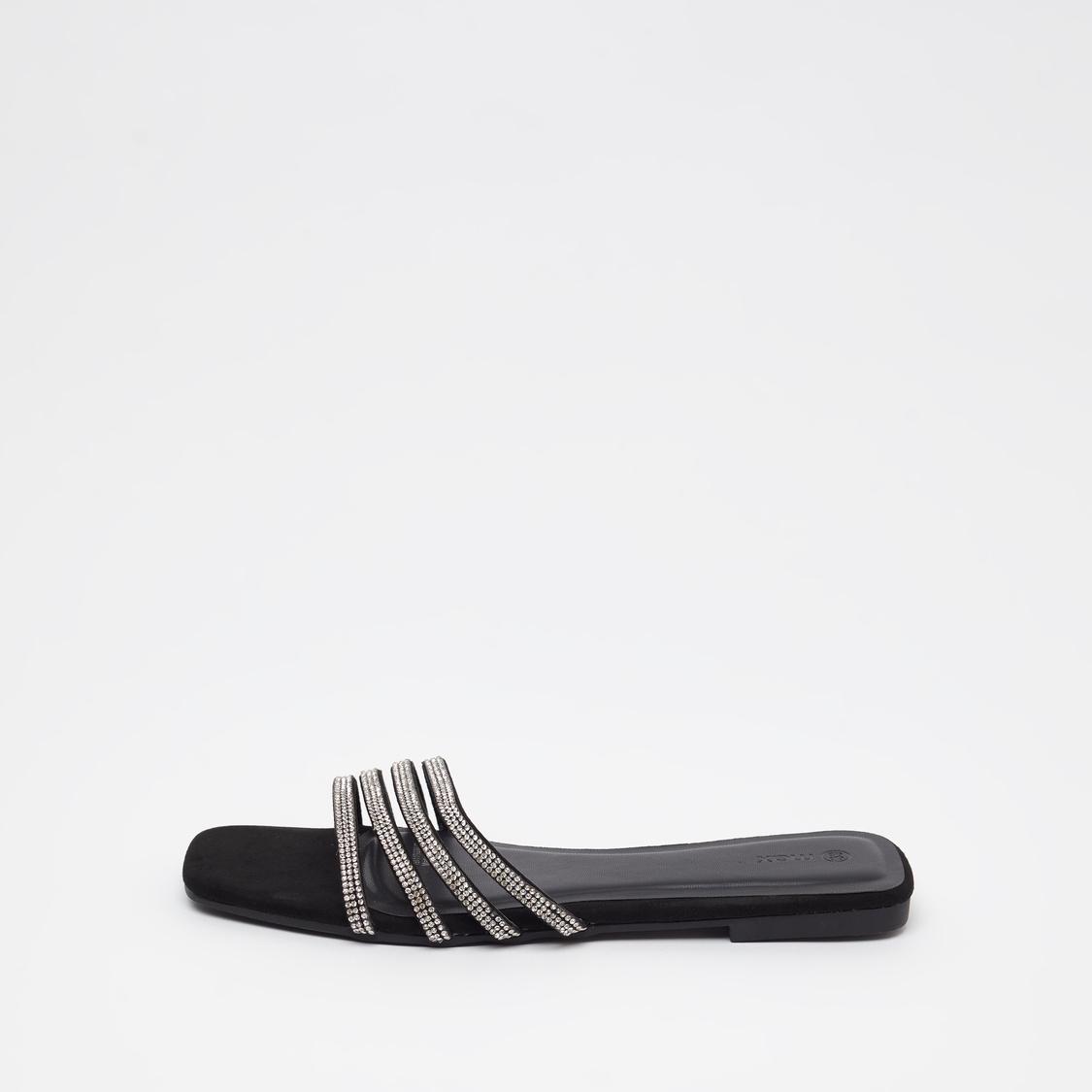 Stone Studded Slip On Flat Sandals