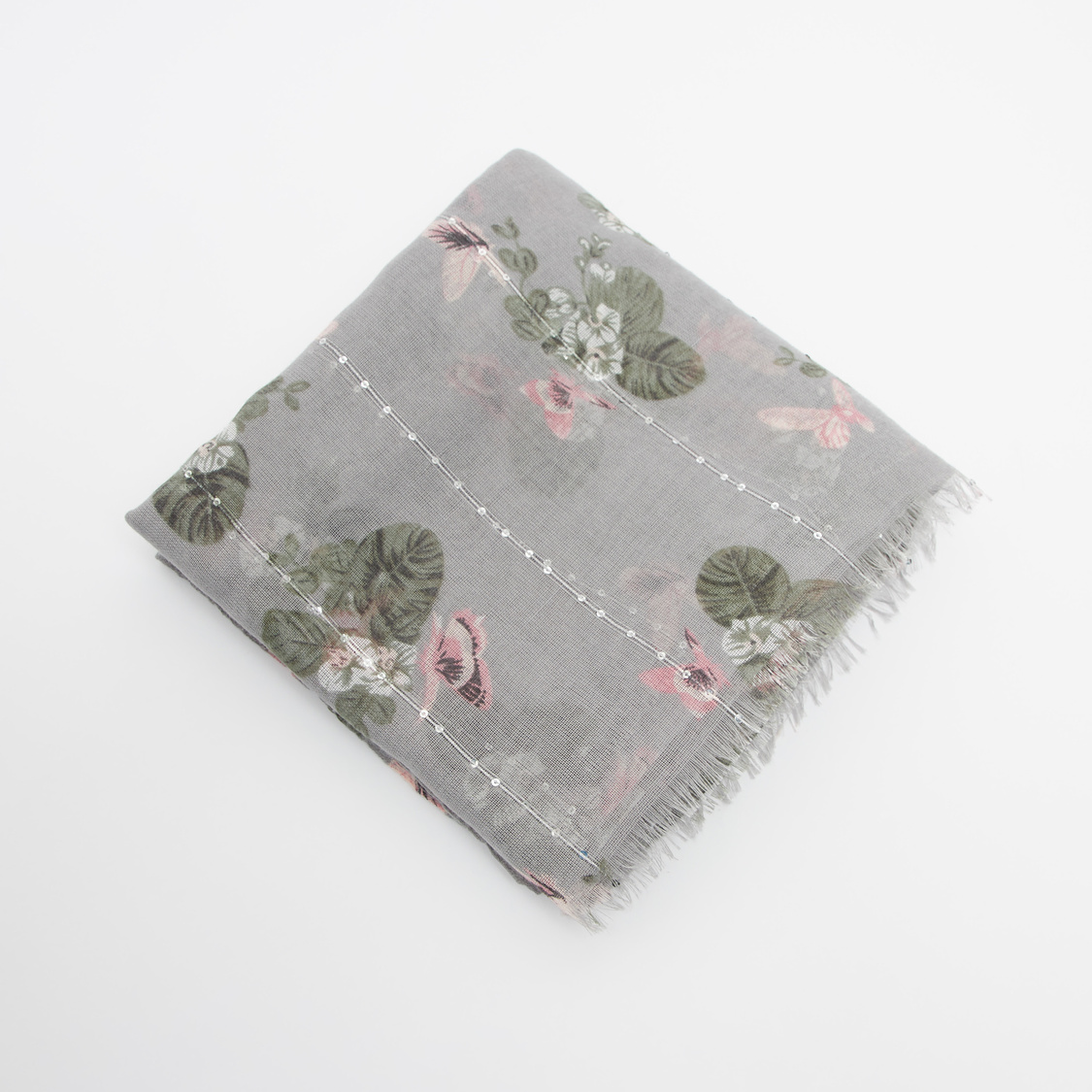 Printed Rectangular Scarf with Fringes