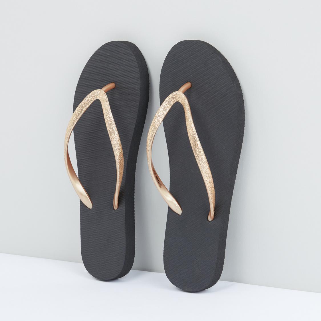 Flip Flops with Metallic Straps