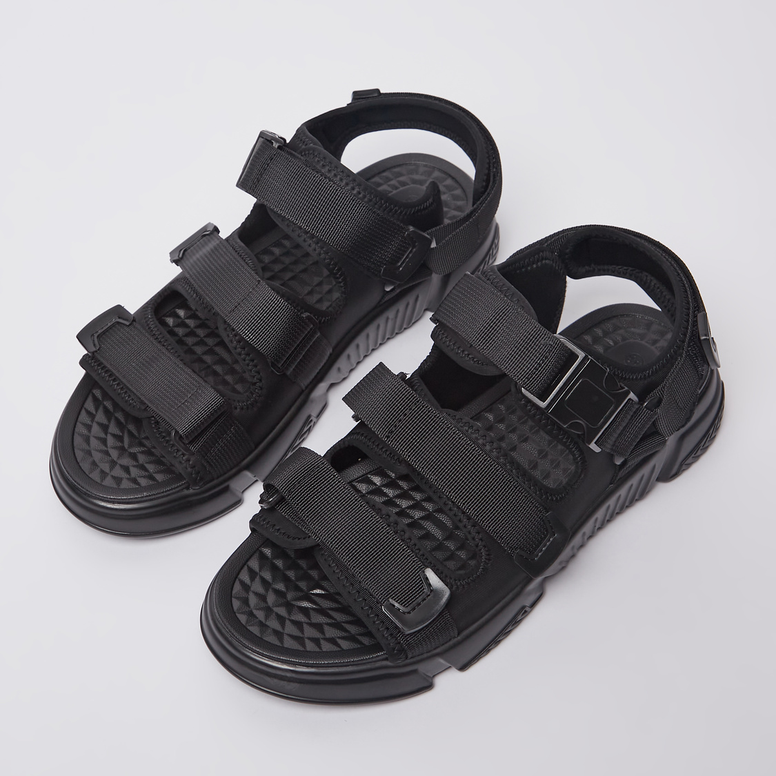 Textured Sport Sandals with Hook and Loop Closure