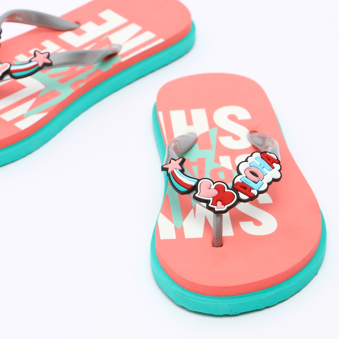 Printed Flip Flops with Applique