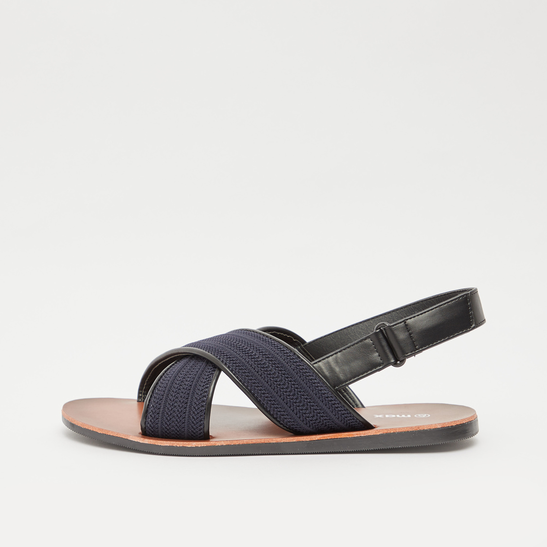 Textured Criss Cross Strap Slingback Sandals