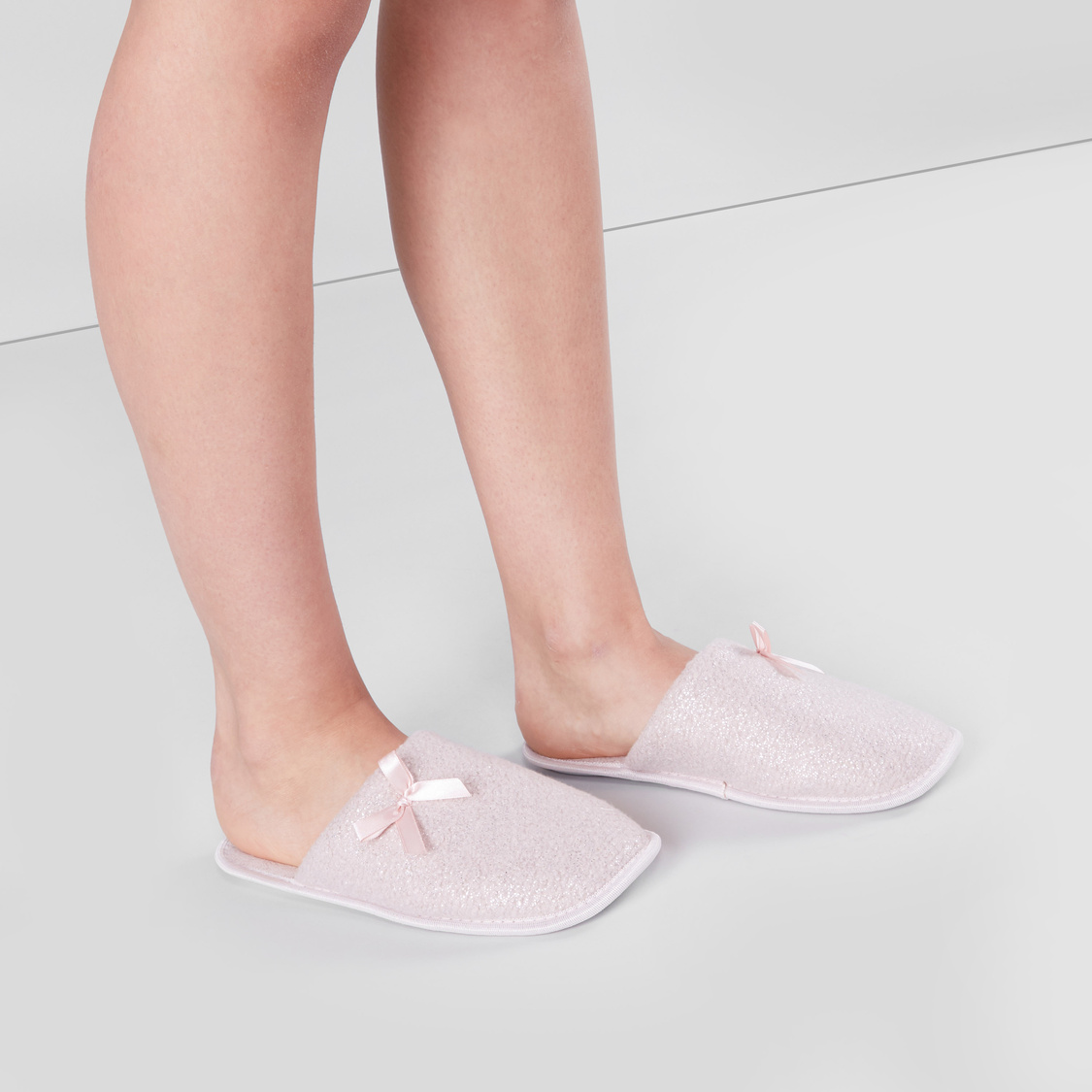 Embellished Bedroom Slippers with Bow Applique Detail