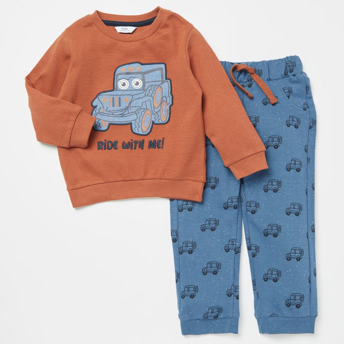 Embroidered Long Sleeves Sweatshirt with All-Over Print Jog Pants Set