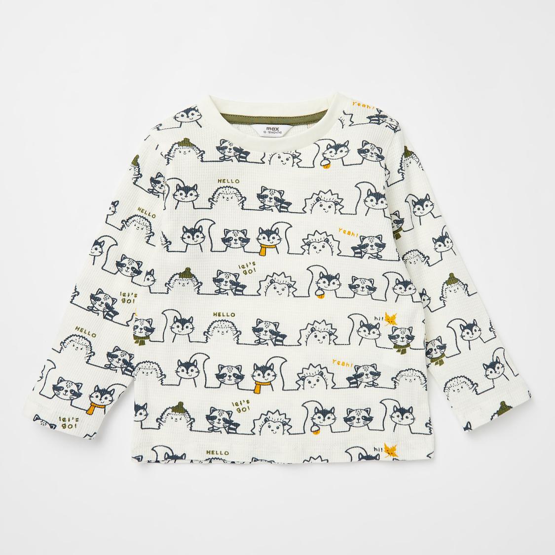 Printed Round Neck T-shirt and Dungaree Set