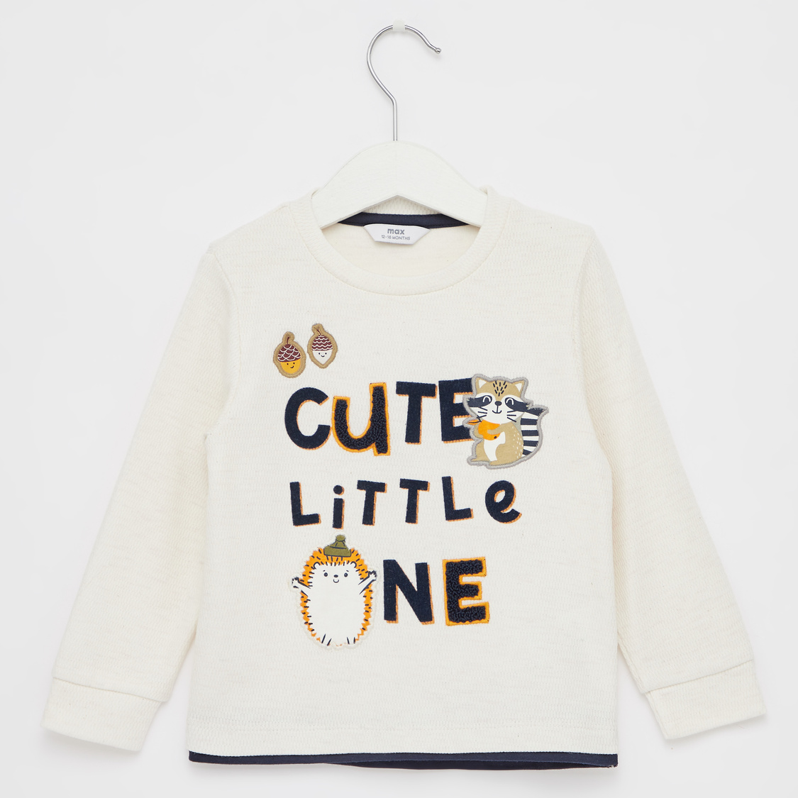 Slogan Print T-shirt with Long Sleeves and Applique