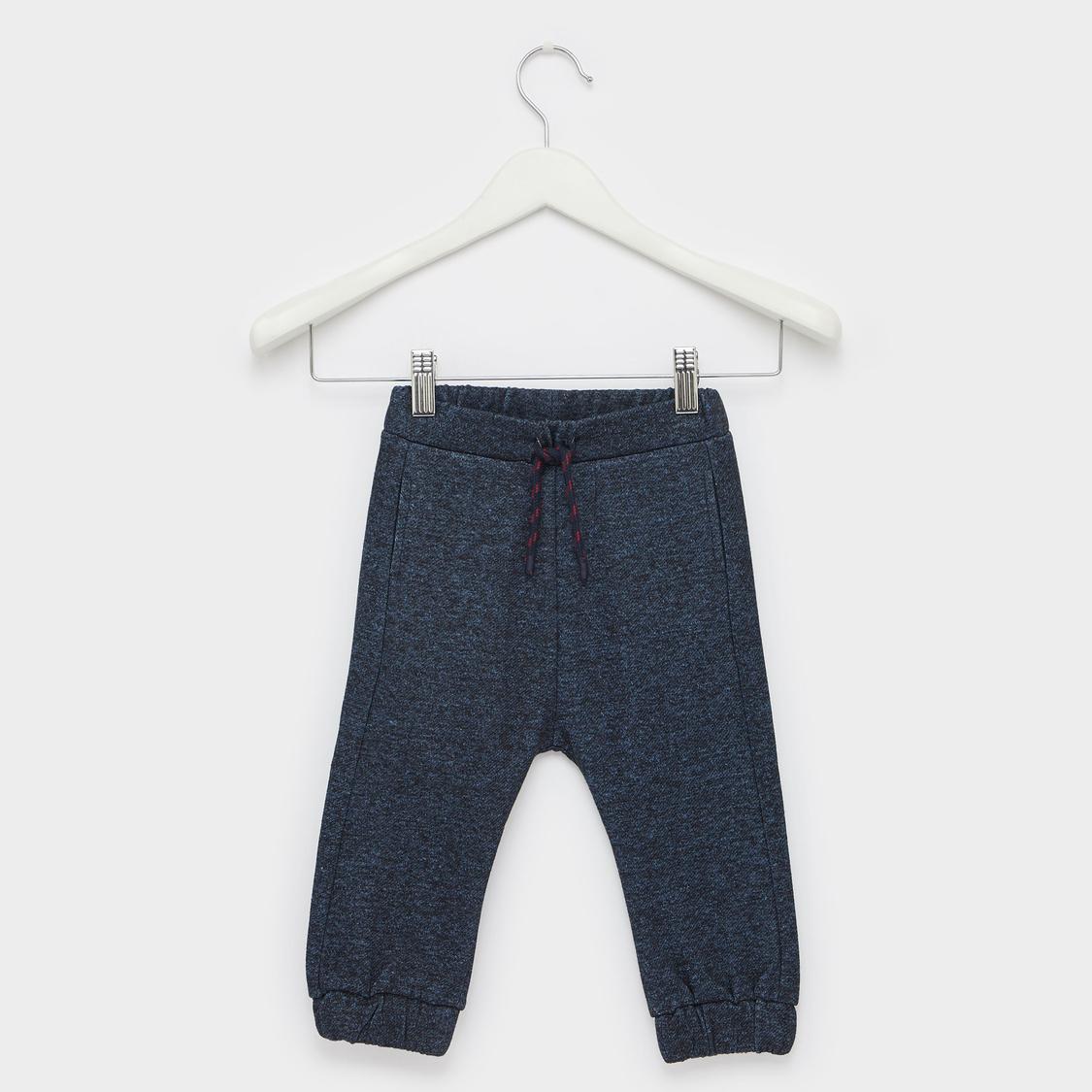 Textured Jog Pants with Bear Applique and Drawstring Closure