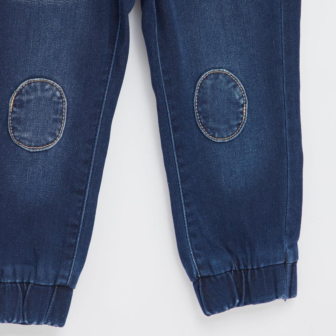 Knee Patch Detail Denim Jog Pants