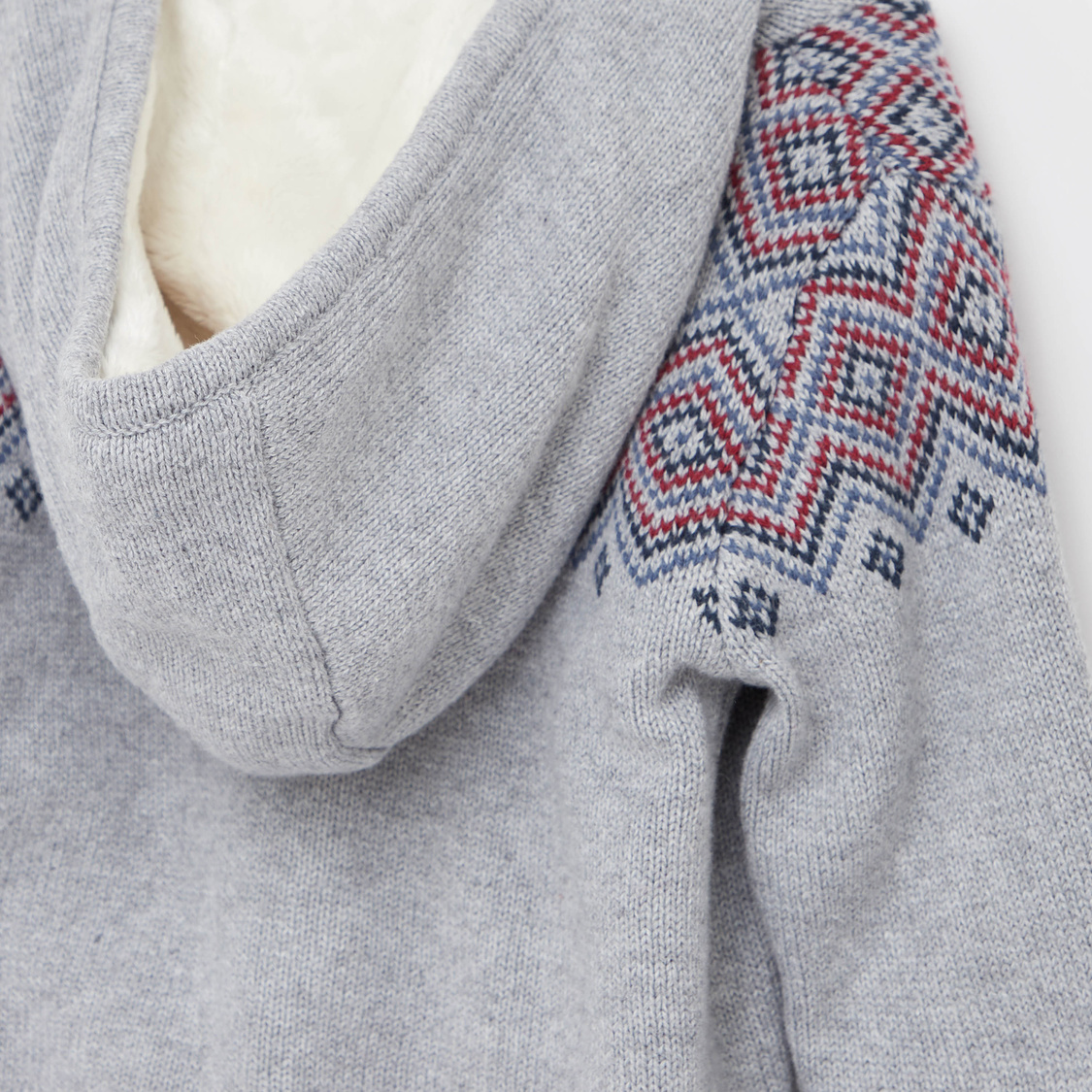 Printed Jacket with Hooded Neck and Zip Closure