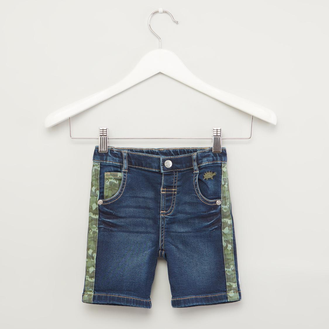 Dino Embroidered Denim Shorts