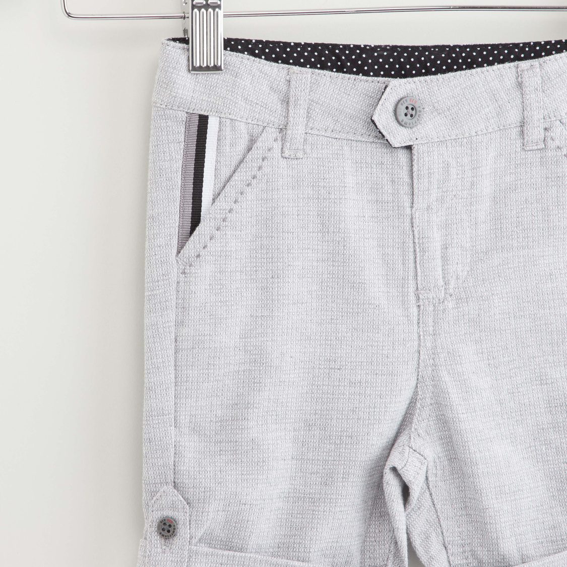 Textured Shorts with Pockets and Button Closure