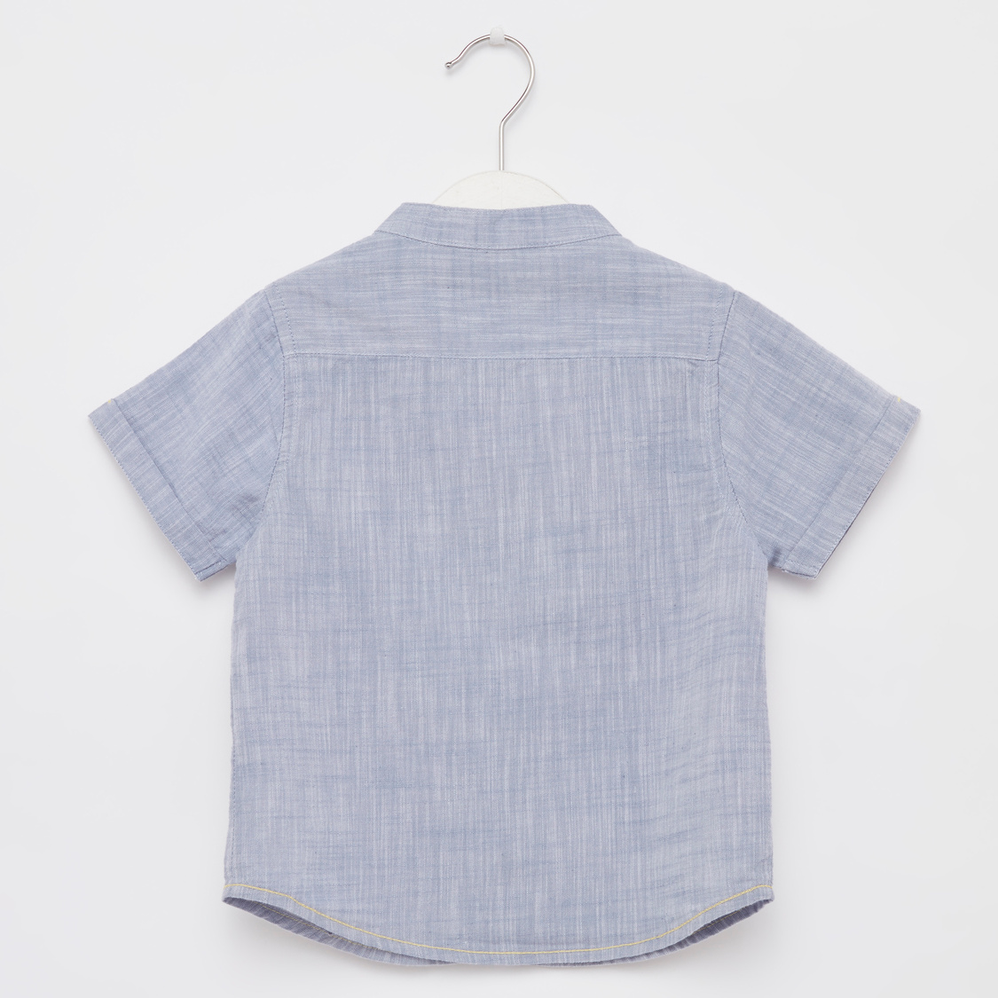Printed Round Neck T-shirt with Textured Short Sleeves Shirt