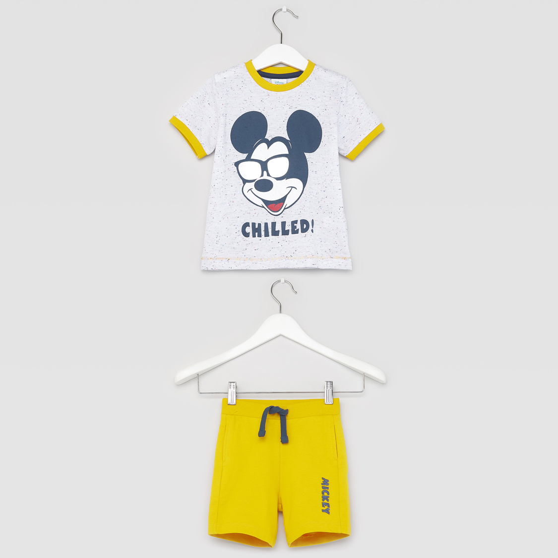 Mickey Mouse Print Round Neck T-shirt with Shorts