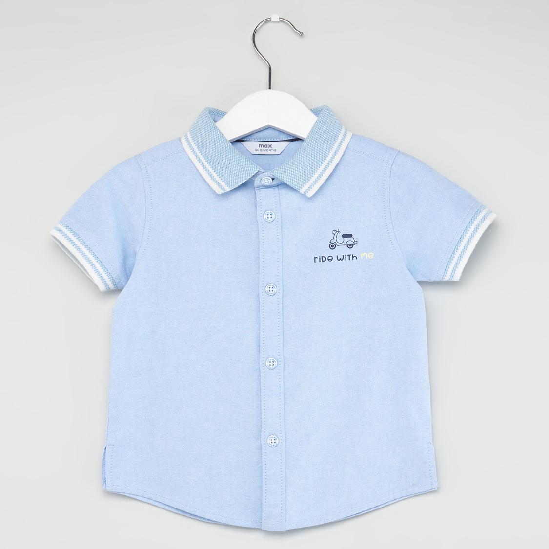 Textured Short Sleeves Shirt with Shorts