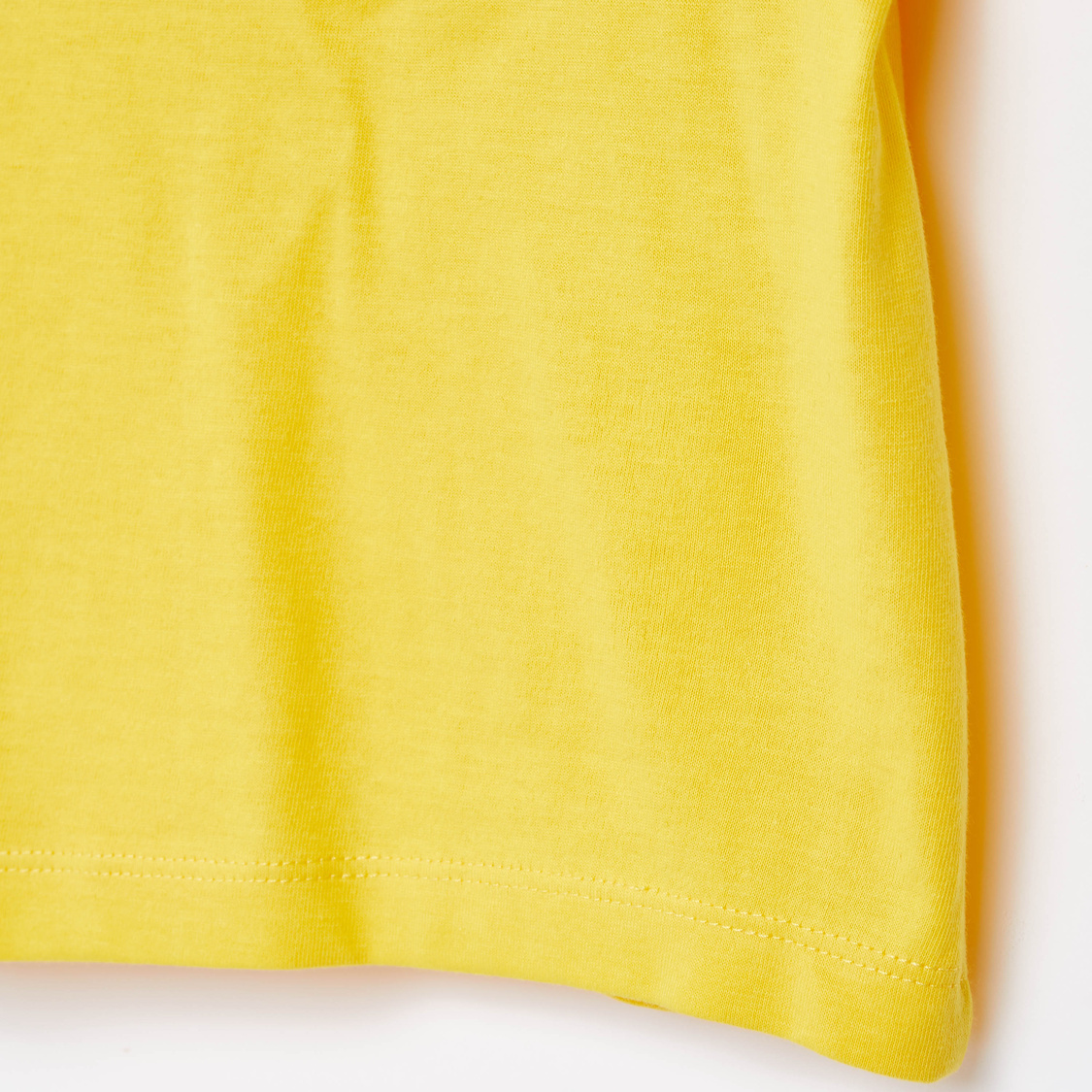 Round Neck T-shirt with Placement Print and Short Sleeves