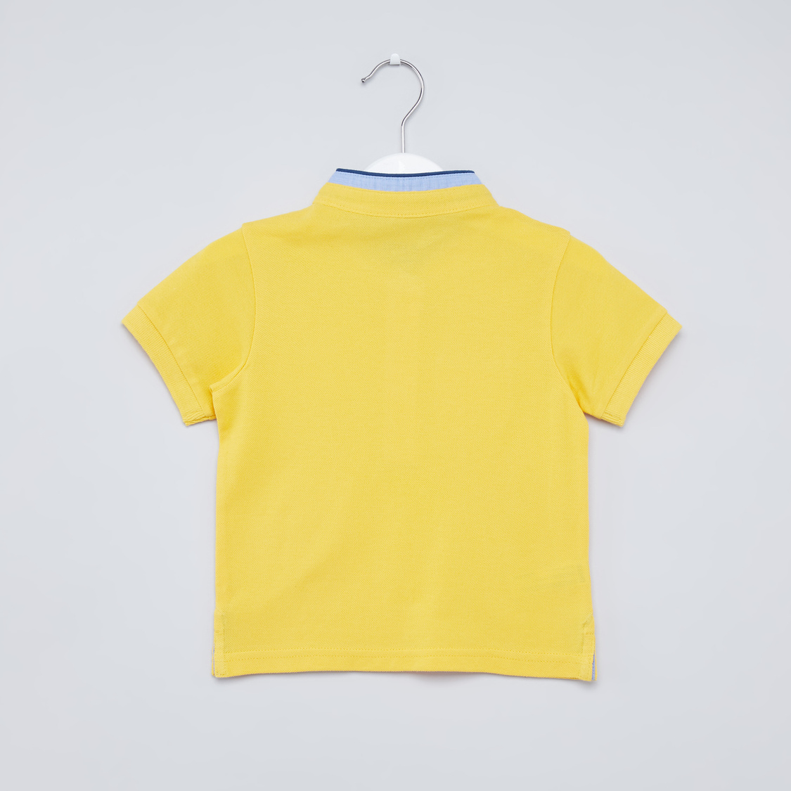 Textured Henley Neck T-shirt with Patch Pocket