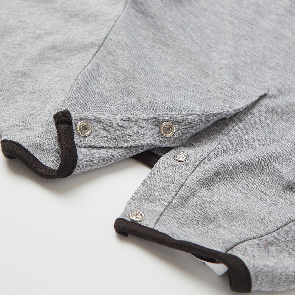Typographic Print Long Sleeves Sleepsuit with Cap