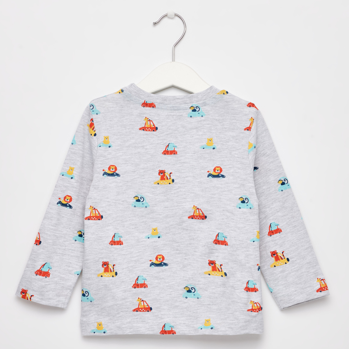 All-Over Printed T-shirt with Round Neck and Long Sleeves