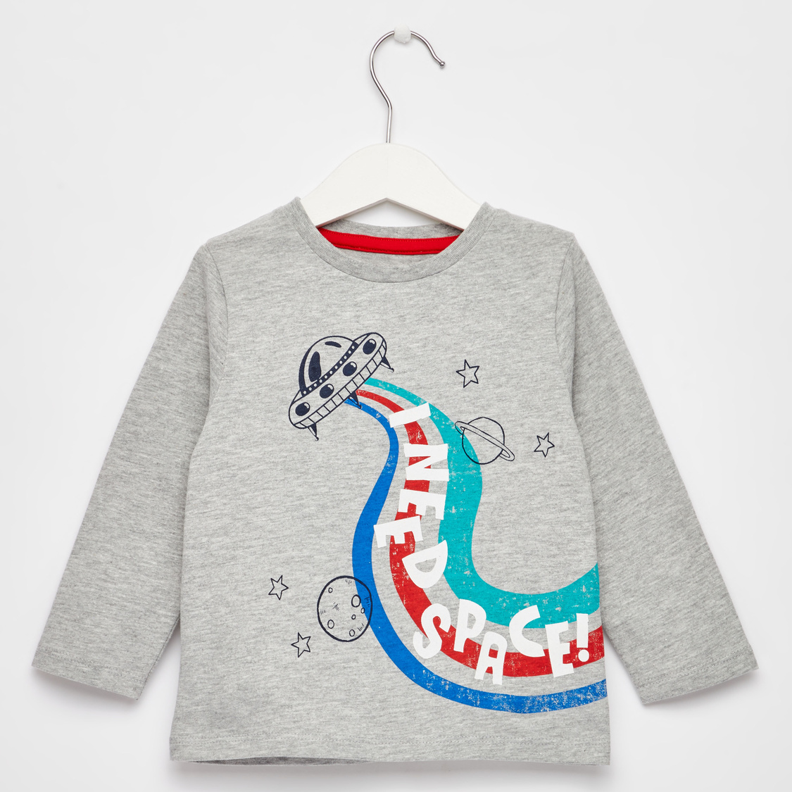 Space Print T-shirt with Long Sleeves