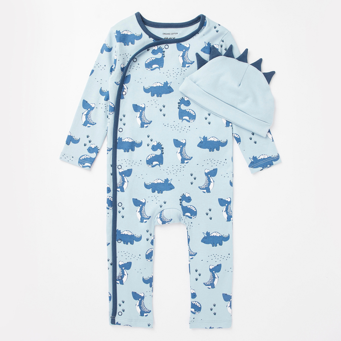 Dino Print GOTS Organic Cotton Full Length Sleepsuit with Cap