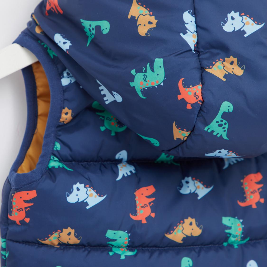 Dino Print Sleeveless Gilet Jacket with Hood