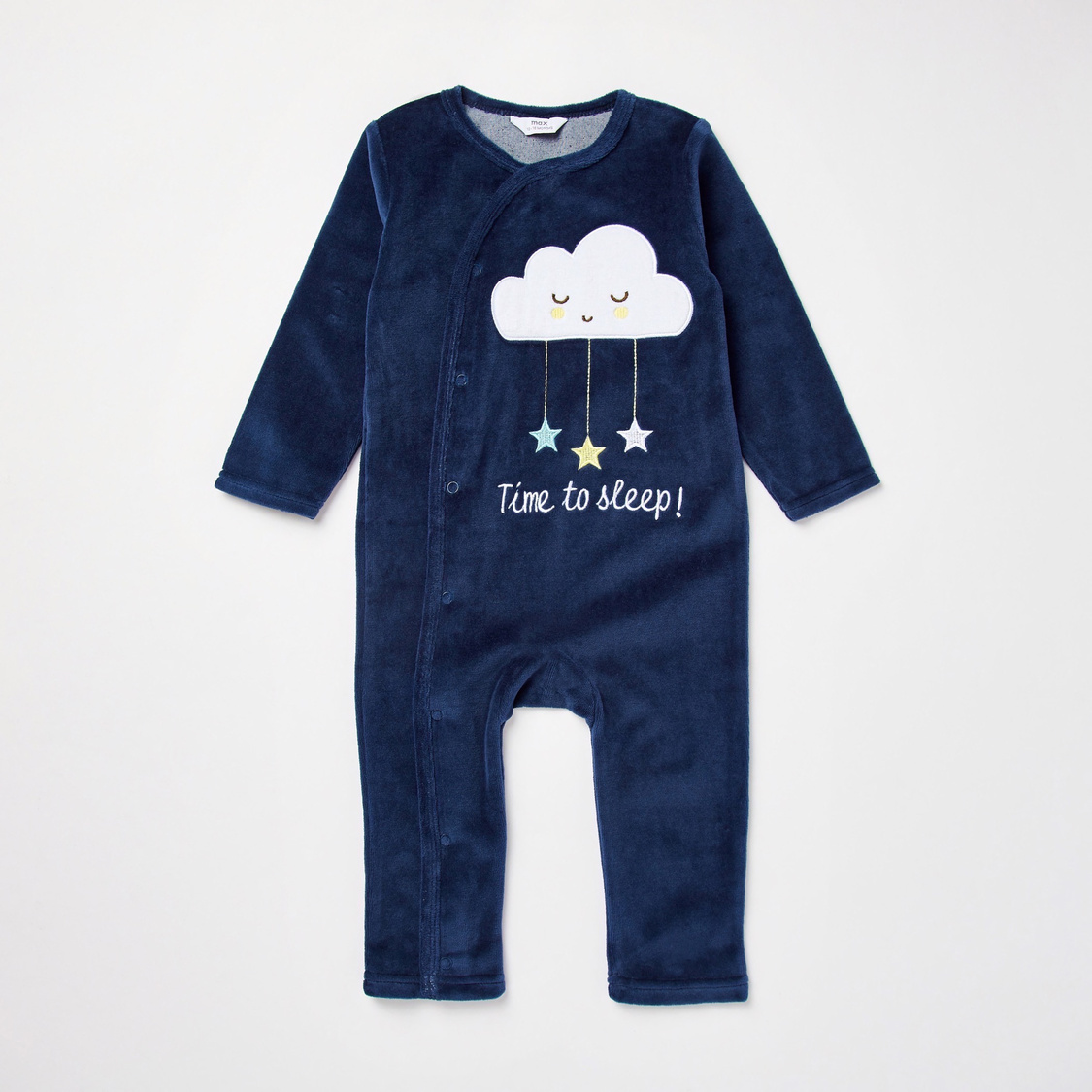 Embroidered Round Neck Sleepsuit with Beanie