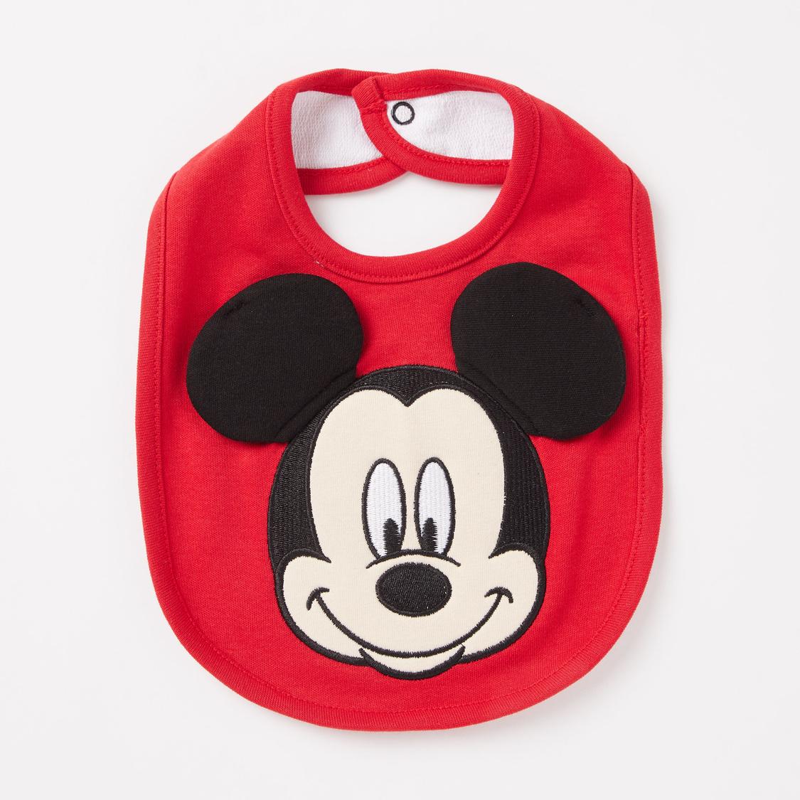 Set of 2 - Mickey Mouse Print GOTS Organic Cotton Bib