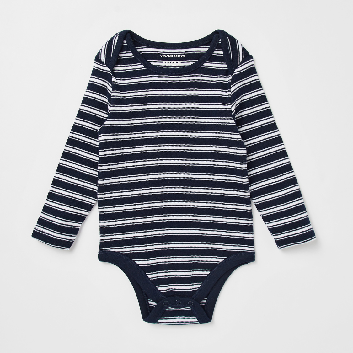 Set of 3 - Striped GOTS Organic Cotton Bodysuit with Long Sleeves