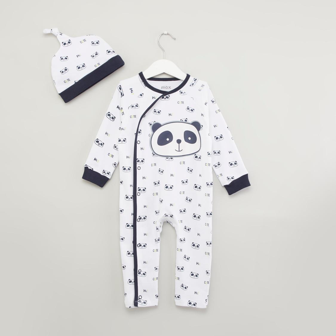 Panda Printed Sleepsuit with Cap