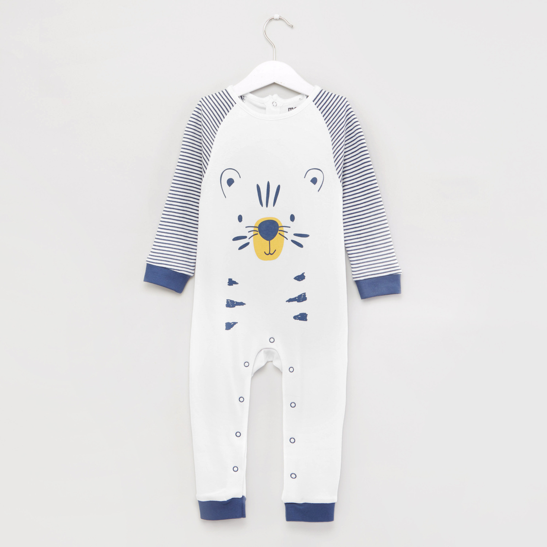 Tiger Face Print Round Neck Sleepsuit with Cap