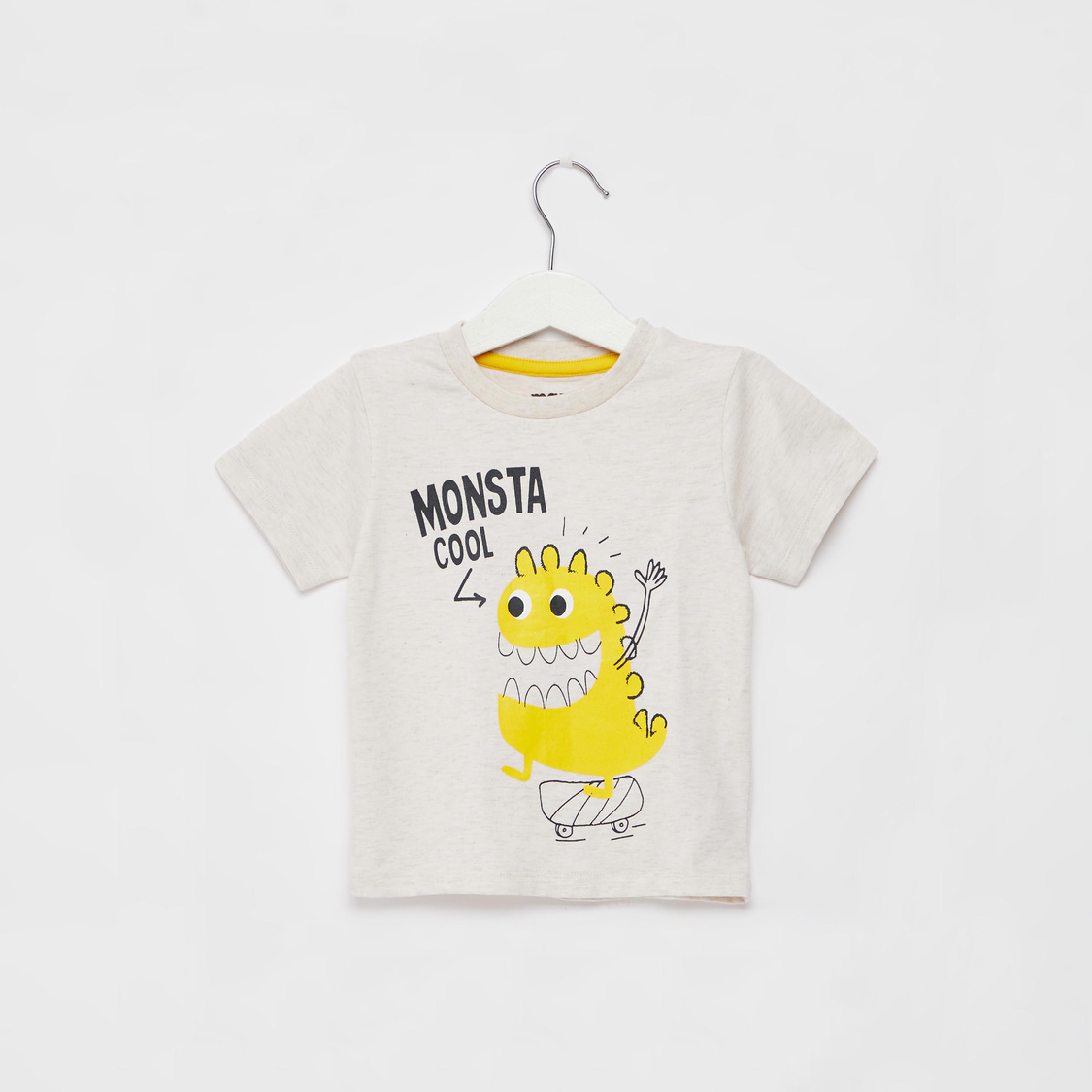 Monster Print T-shirt with Round Neck and Short Sleeves