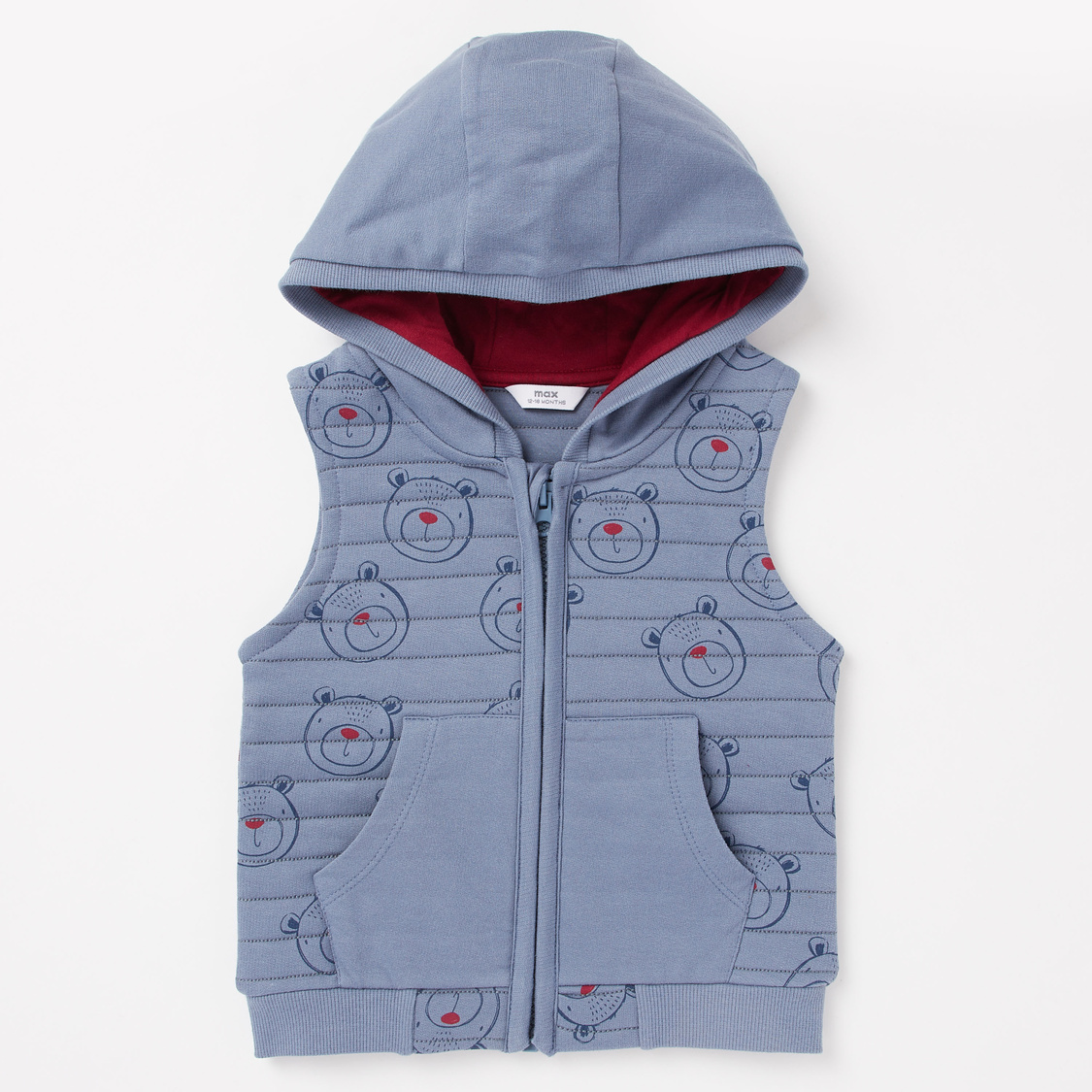 Bear Print Hooded Gilet and Long Sleeves T-shirt Set