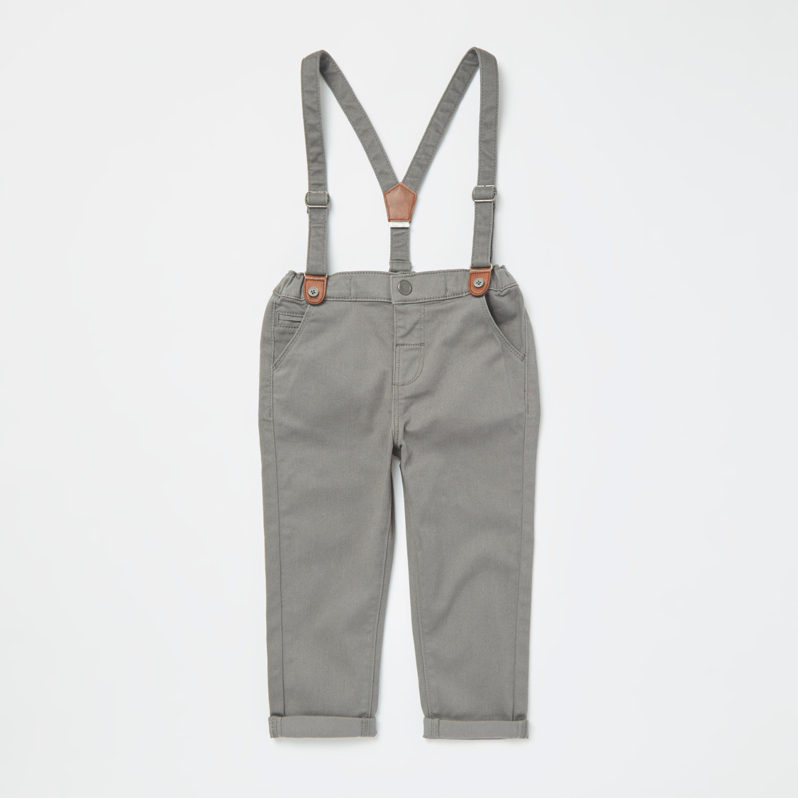 Checked Mandarin Collar Shirt and Full Length Pants with Suspenders