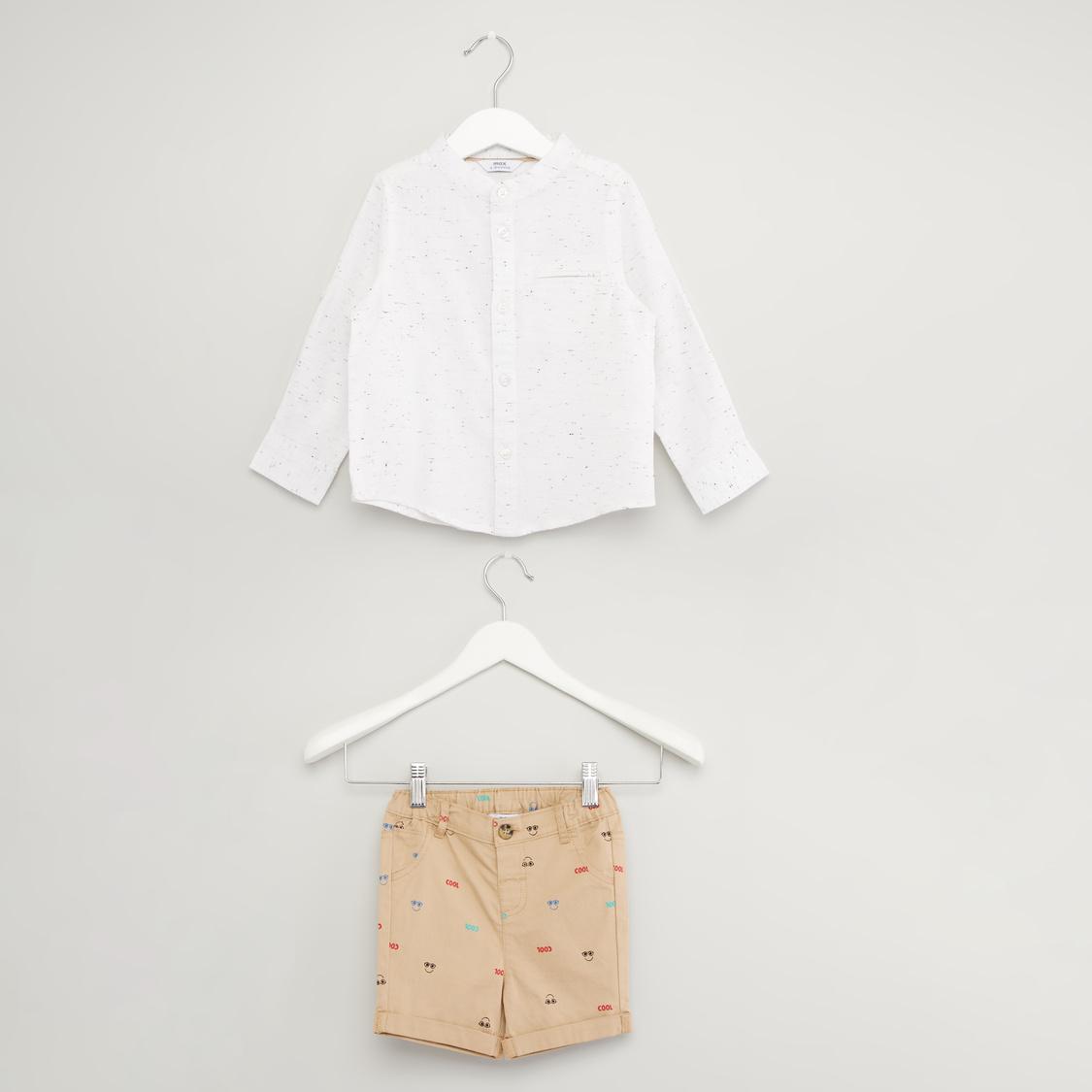 Printed Long Sleeves Shirt with Shorts