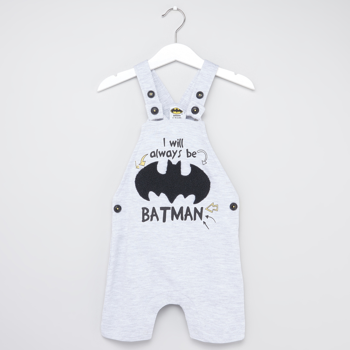 Batman Print Round Neck T-shirt and Dungaree Set