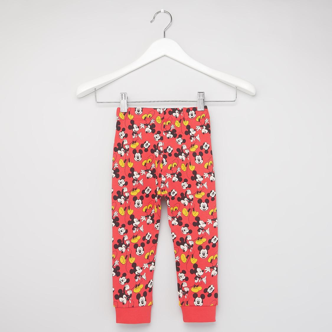 Mickey Mouse Print Round Neck T-shirt with Pyjama Set