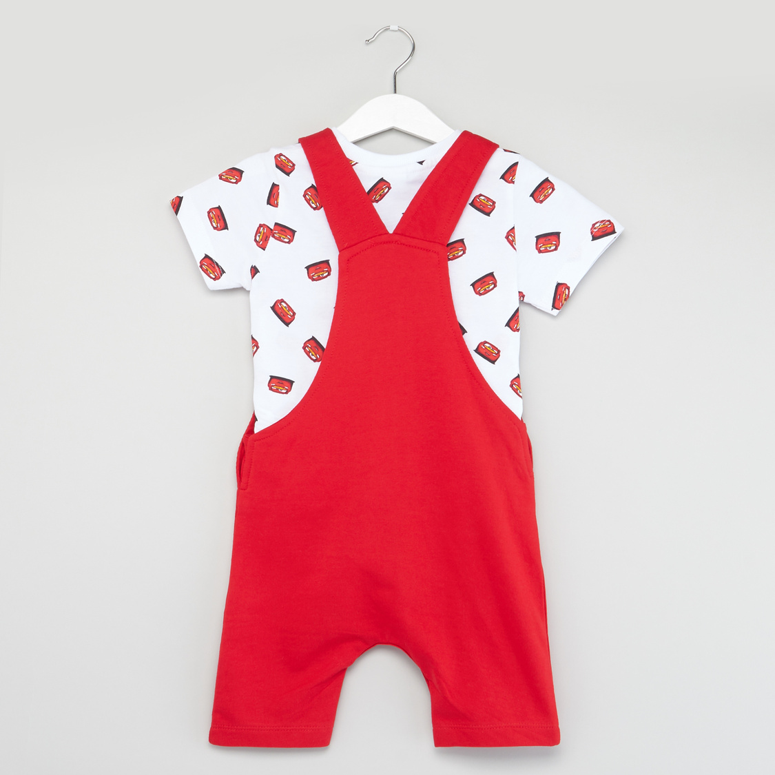 Cars Print Round Neck T-shirt with Contrast Dungaree Set