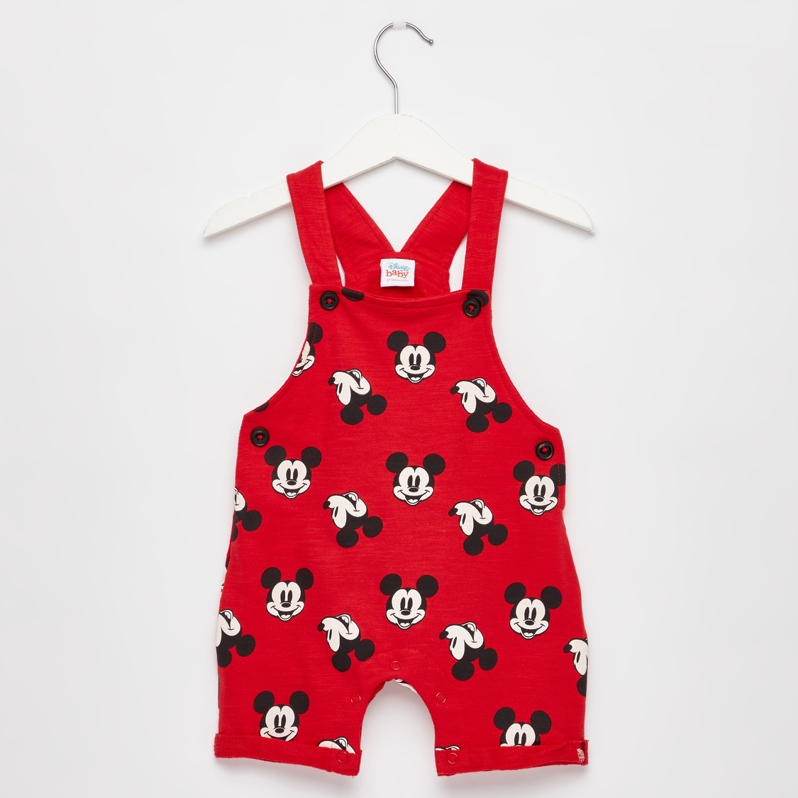 Mickey Mouse Print Round Neck T-shirt and Dungarees Set