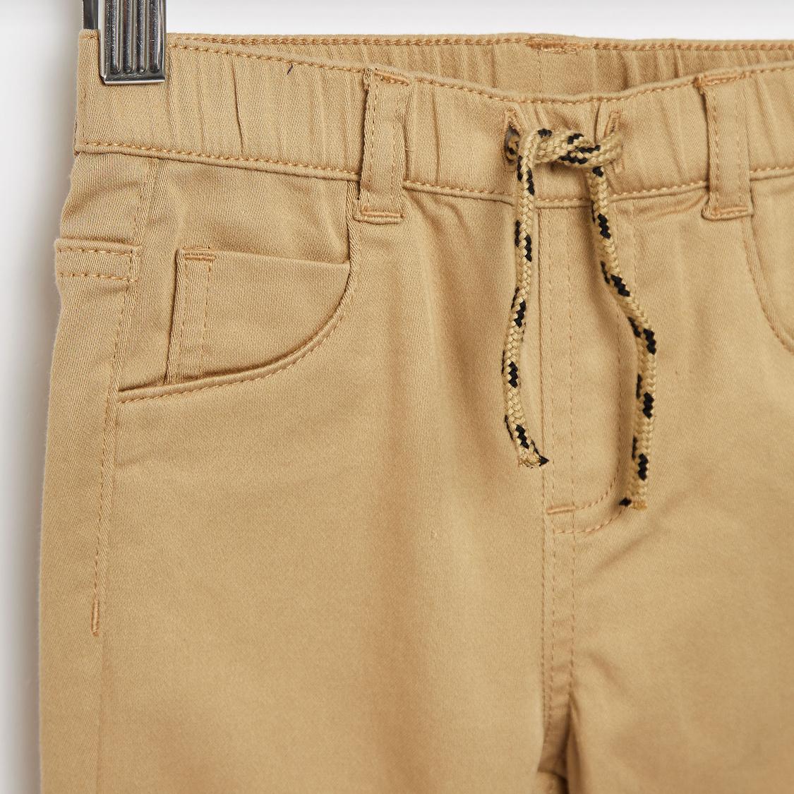 Solid Jog Pants with Pockets and Drawstring Closure
