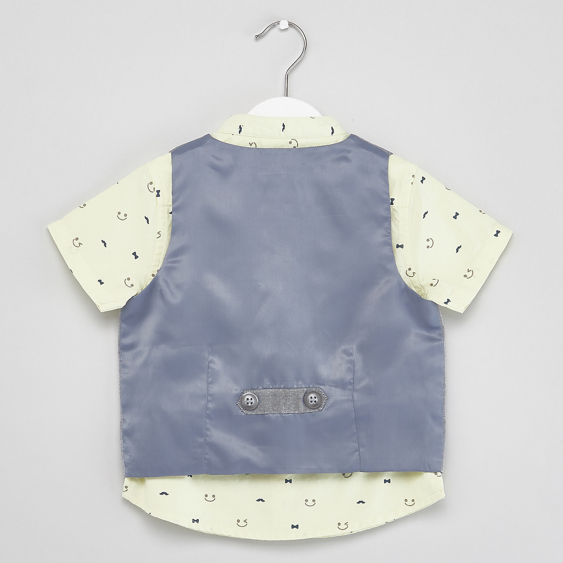 Face Print Shirt with Waistcoat and Shorts