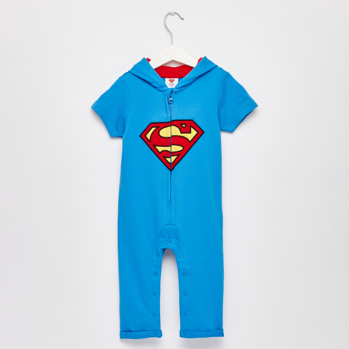 Superman Print Hooded Romper with Short Sleeves