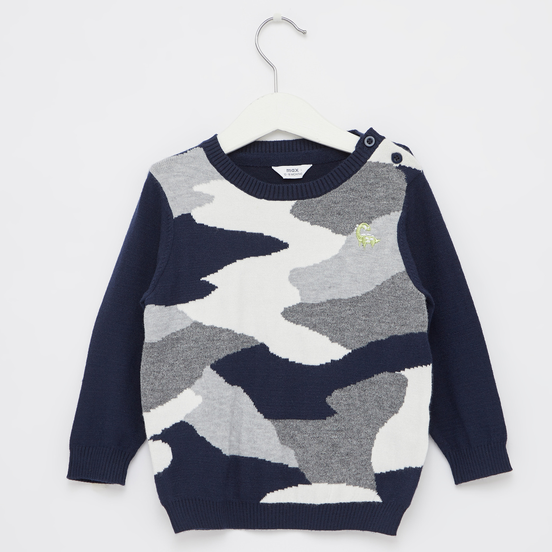 Camo Print Sweater with Round Neck and Long Sleeves