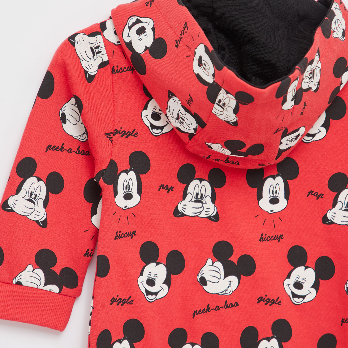 Mickey Mouse Print Romper with Long Sleeves and Hood