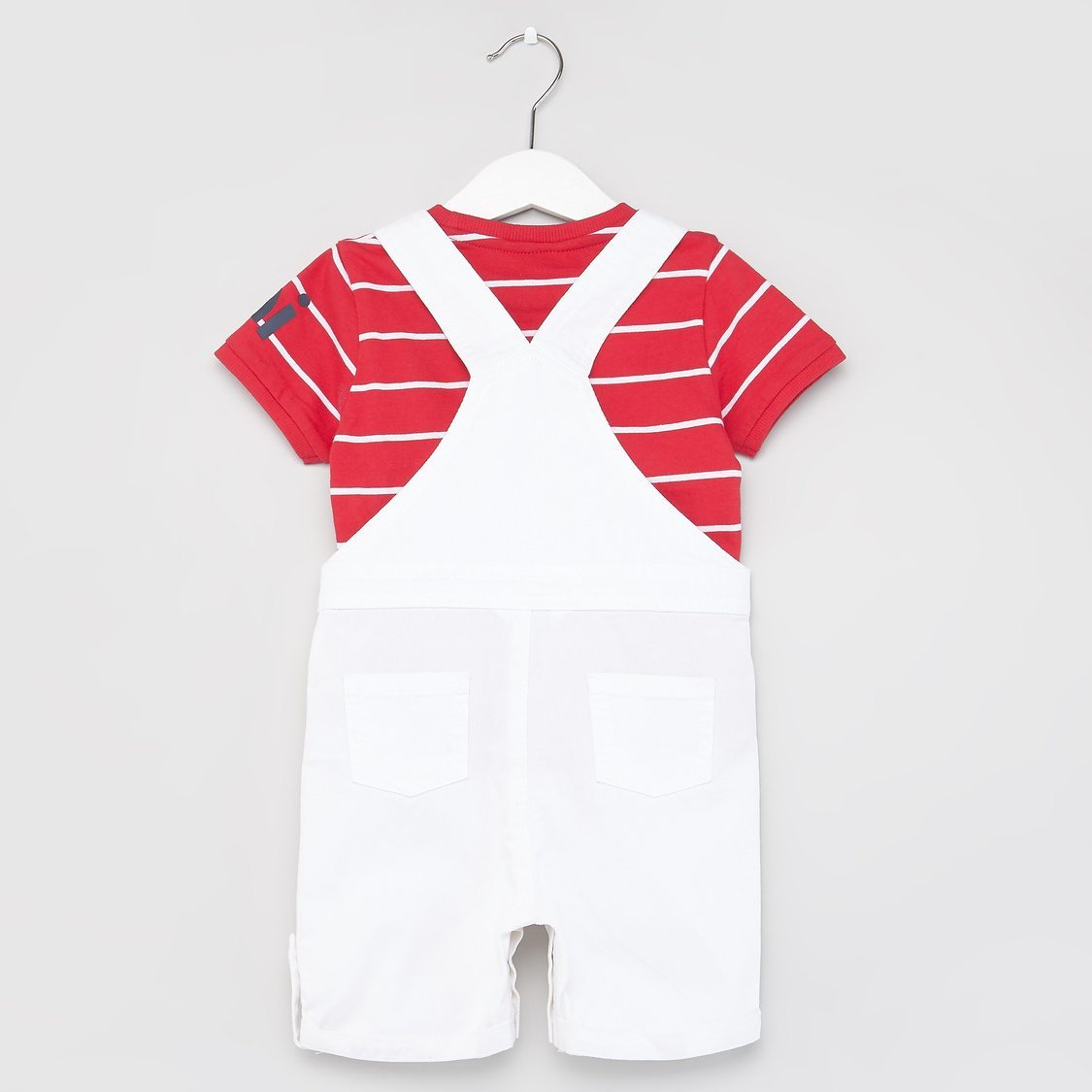 Striped Round Neck T-shirt with Solid Dungarees
