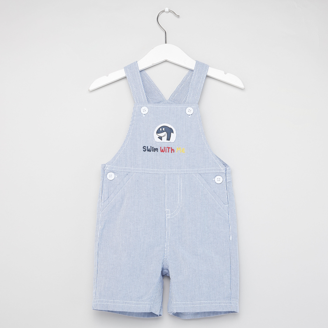 Solid Polo T-shirt with Striped Dungarees