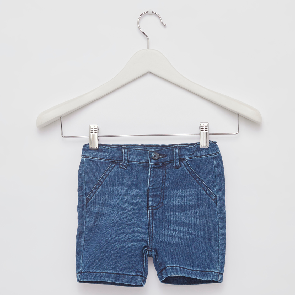 Checked Short Sleeves Shirt with Denim Shorts