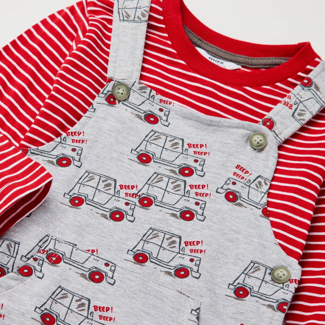 Car Print Dungaree and Long Sleeves Striped T-shirt Set