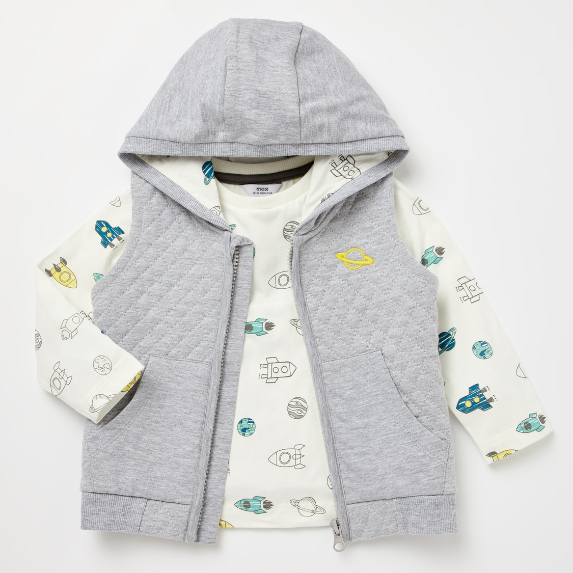 Space Rocket Print Round Neck T-shirt and Quilted Gilet Set